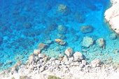 picture of greek-island  - Beautiful Deep blue sea and rocks in Greece - JPG