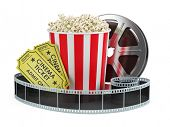 Cinema concept: Film reel, popcorn, cinema tickets isolated white background, 3d render poster