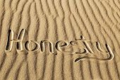 Honesty Written In The Sand At Great Sand Dunes National Park And Preserve, Colorado poster
