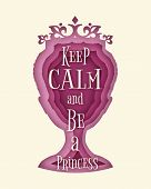Vintage Queen Silhouette. Medieval Queen Front View. Elegant Silhouette Of A Female Head. Quote Keep poster