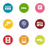 Metropolis Parking Icons Set. Flat Set Of 9 Metropolis Parking Vector Icons For Web Isolated On Whit poster