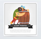 Bearded Pirate Sleeping On A Wooden Barrel Of Rum, Scary Pirates Banner, Flat Vector Ilustration, El poster