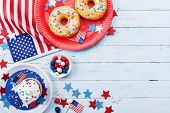Fourth Of July American Independence Day Background Decorated With Usa Flag, Donut With Candys, Star poster