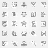 Survey Icons Set. Vector Checklist, To Do List And Online Survey Concept Symbols In Thin Line Style poster
