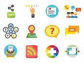 Social Media Icon Set. Quality Label Question Bubble Social Media Blogging Plus Sign Content Managem poster