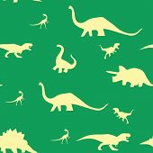 Dinosaur Silhouette Pattern Seamless. Vector Illustration. Beige Dinosaurs On Green Background. poster