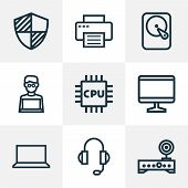 Hardware Icons Line Style Set With Man With Laptop, Microprocessor, Monitor And Other Cpu  Elements. poster