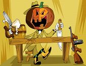 picture of tommy-gun  - A large pumpkin dressed as a gangster is sitting at the bar and drink beer - JPG