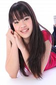 Portrait Pretty Oriental Teenager Student Girl