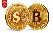 Bitcoin. Dollar Coin. 3d Isometric Physical Coins. Digital Currency. Cryptocurrency. Golden Coins Wi poster