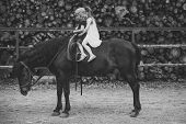 Equine Therapy, Recreation Concept. Children Sit In Rider Saddle On Animal Back. Girls Ride On Horse poster