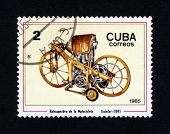 CUBA - CIRCA 1985: A stamp printed in Cuba shows an image of a old vintage motorcycle, Daimler - 188