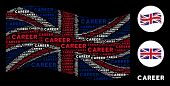 Waving English State Flag Collage Made Of Career Text Elements. Vector Career Texts Are United Into  poster