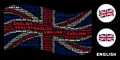 Постер, плакат: Waving English Official Flag Composition Combined Of English Texts Vector English Texts Are United