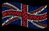 Waving British Flag On A Black Background. Vector Wrench Elements Are Placed Into Mosaic United King poster
