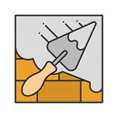 Brick Wall With Triangular Shovel Color Icon. Cement Solution. Putty Knife, Spatula. Isolated Vector poster