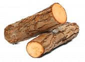 stock photo of alder-tree  - Stack of cut logs fire wood from Common Alder tree  - JPG