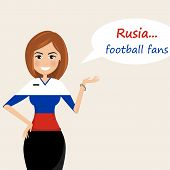 Russia Football Fans.cheerful Soccer Fans, Sports Images.young Woman,pretty Girl Sign.happy Fans Are poster