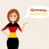 Germany Football Fans.cheerful Soccer Fans, Sports Images.young Woman,pretty Girl Sign.happy Fans Ar poster