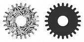 Cogwheel Collage Of Service Tools. Vector Cogwheel Icon Is Done Of Gears, Spanners And Other Technic poster