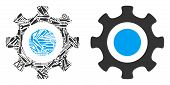 Cogwheel Collage Of Service Instruments. Vector Cogwheel Icon Is Composed Of Gears, Wrenches And Oth poster