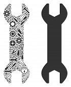 Wrench Collage Of Service Instruments. Vector Wrench Icon Is Shaped From Gears, Spanners And Other S poster