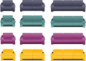 Four different kinds of sofas and armchairs