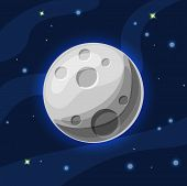 Vector Grey And Blue Moon In Deep Dark Blue Space With Cartoon Glow. Flat Modern Style. Moon In Spac poster