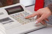 stock photo of cash register  - Close - JPG