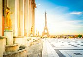 Eiffel Tower From The Gardens Of The Trocadero Square At Sunrise, Paris France, Retro Toned poster