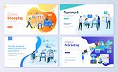 Set Of Web Page Design Templates For Online Shopping, Digital Marketing, Teamwork, Business Strategy poster