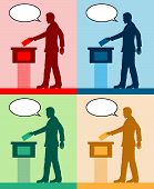 Male Voter Silhouettes With Different Colored Speech Bubble By Voting For Election. All The Silhouet poster