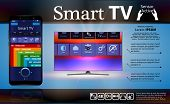 Smart Tv Is On The Table. Smart Tv Interface. A Smartphone Is A Remote For A Smart Tv. poster
