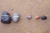 Five striped pebbles