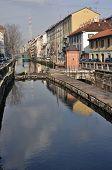 naviglio lock in winter, milan