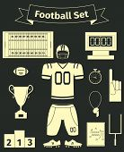 American Football Icons Set, Flat Style, Vector Illustration poster