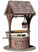 picture of wishing-well  - Isolated illustration of an ancient and magical wishing well - JPG
