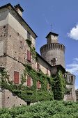 pic of foreshortening  - foreshortening of main prospect of ancient castle built in bricks in lombardy plains - JPG