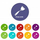 Putty Knife Icons Color Set Vector For Any Web Design On White Background poster