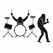 Rock Band Icon. Simple Illustration Of Rock Band Vector Icon For Web Design Isolated On White Backgr poster