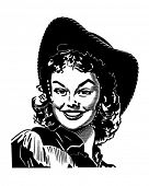 Cute Cowgirl 4 - Retro Clipart Illustration