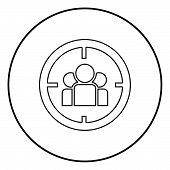 People In Target Or Target Audience Icon Black Color In Circle Round Outline poster