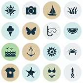 Season Icons Set With Grass, Swimsuits, Starfish And Other Ananas Elements. Isolated Vector Illustra poster