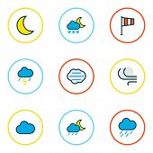 Climate Icons Colored Line Set With Midnight, Windy, Clouded And Other Freeze Elements. Isolated  Il poster