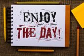 Writing Note Showing  Enjoy The Day Motivational Call. Business Photo Showcasing Enjoyment Happy Lif poster