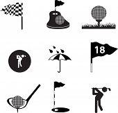 Conjunto de ícones de silhueta preta e símbolos em um fundo branco