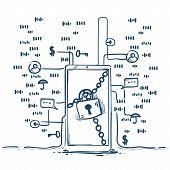 Safe Padlock General Data Protection Regulation Gdpr Server Security Guard Over White Background Han poster