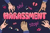 Sexual Harassment Concept. Illustration With The Words Sexual Harassment And Mens Hands And Lustful  poster