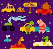 Funny Animals-llama, Crocodile, Bookworm, Rabbit, Mouse, Turtle And Pig-driving Colorful Cars To The poster