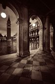 Hallway night view at Piazza San Marco in Venice, Italy. poster